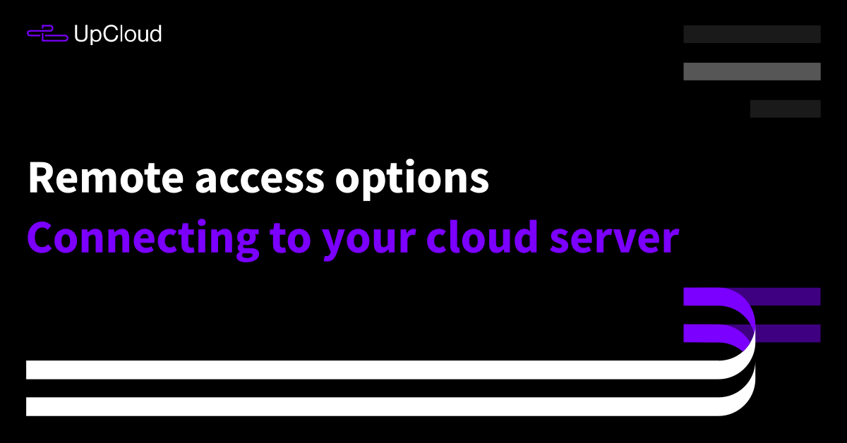 Connecting to your cloud server - UpCloud