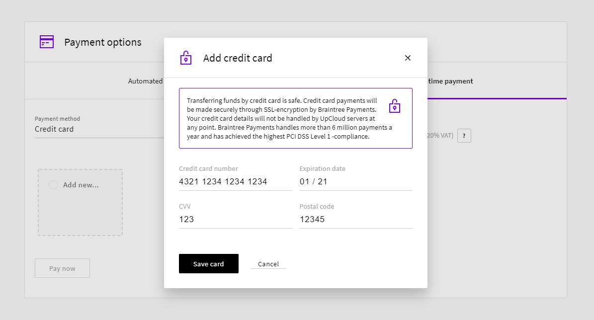 Add credit card