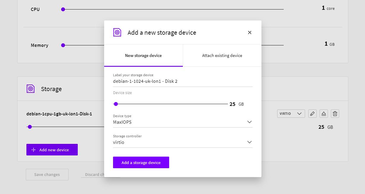 Adding a new 25GB storage device