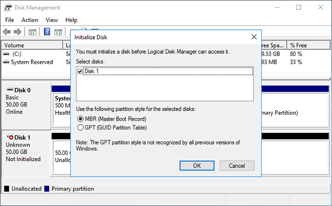 Windows initialize disk