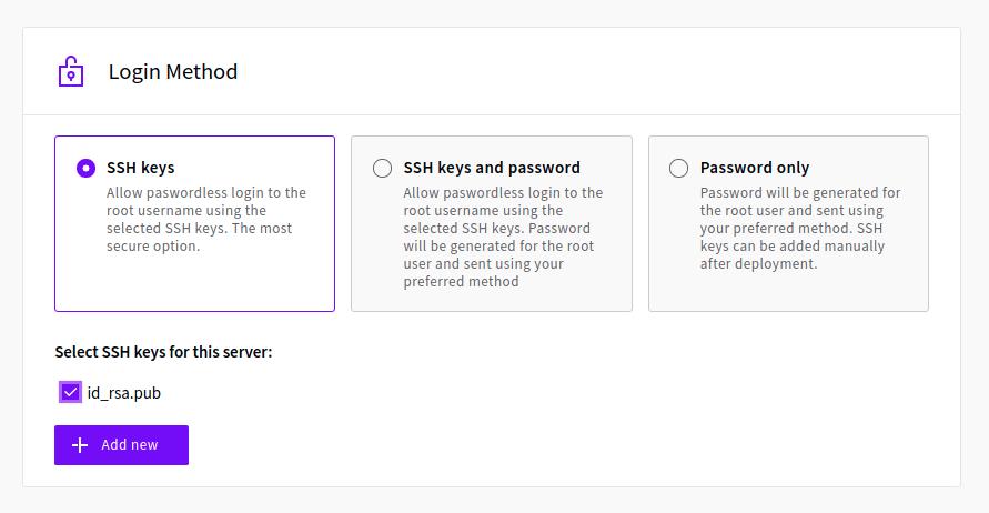 Adding SSH keys to a Cloud Server