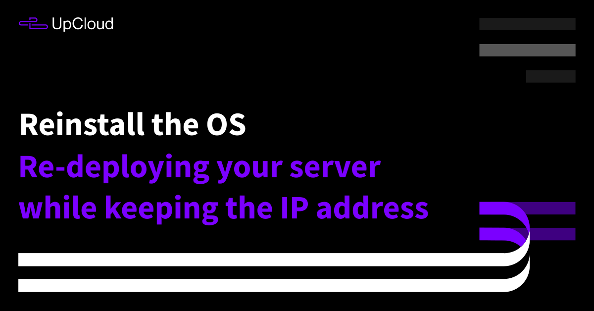 Reinstalling your server while keeping the IP addresses