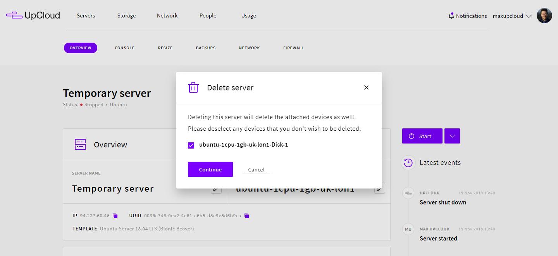 Delete the temporary server