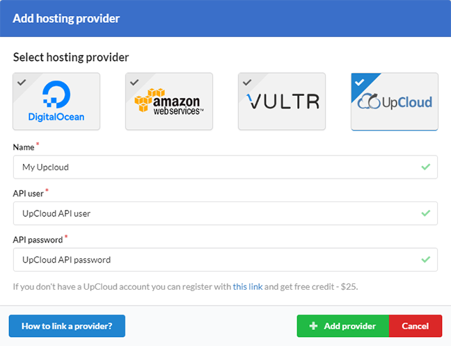 Add a new hosting provider