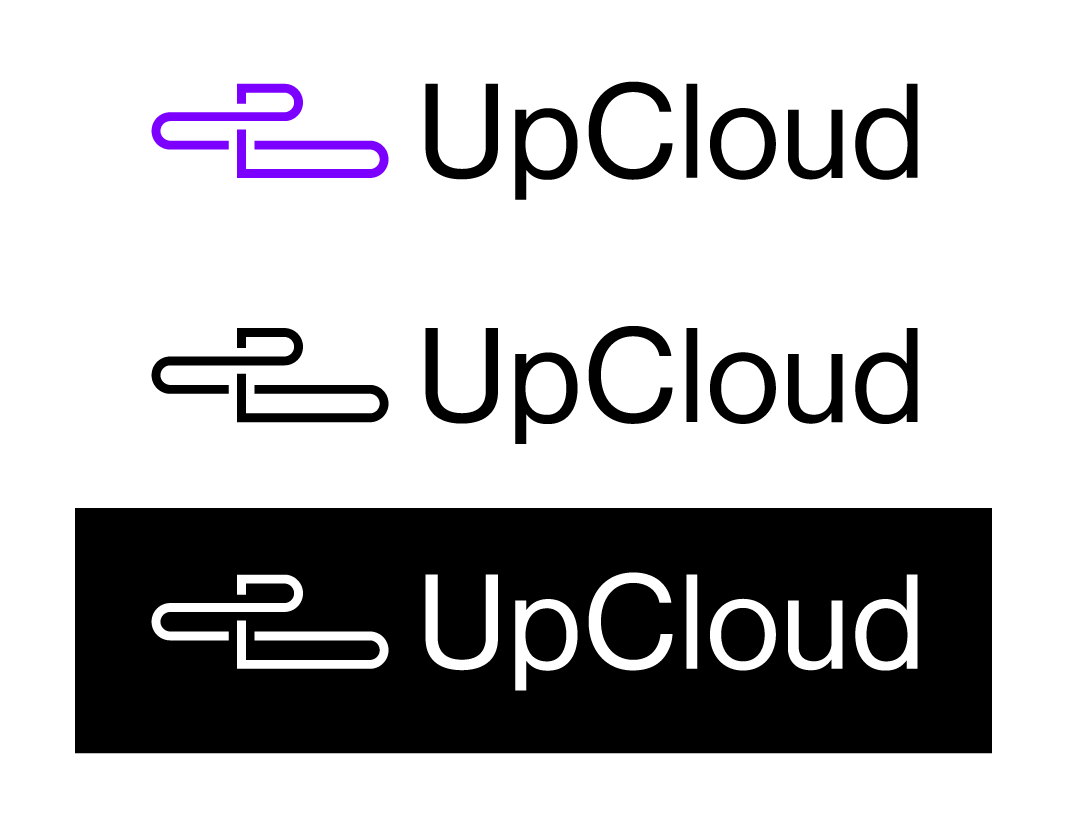 UpCloud logo, black and white background