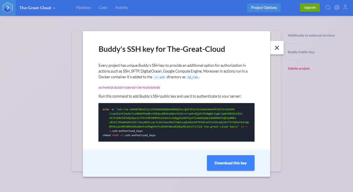 Buddy project public key