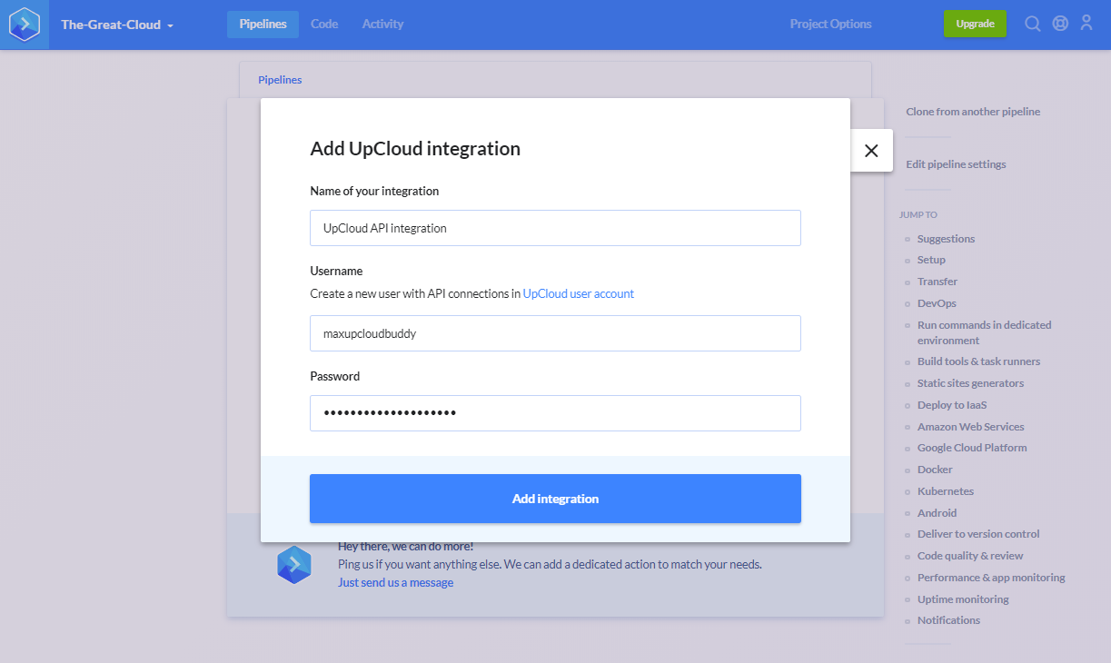 Buddy UpCloud integration