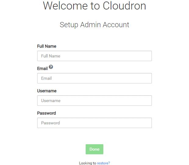 Cloudron setup admin