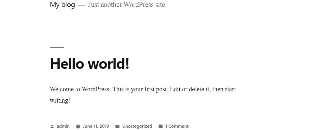 Cloudron WP default site