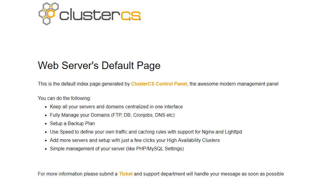 ClusterCS default index page