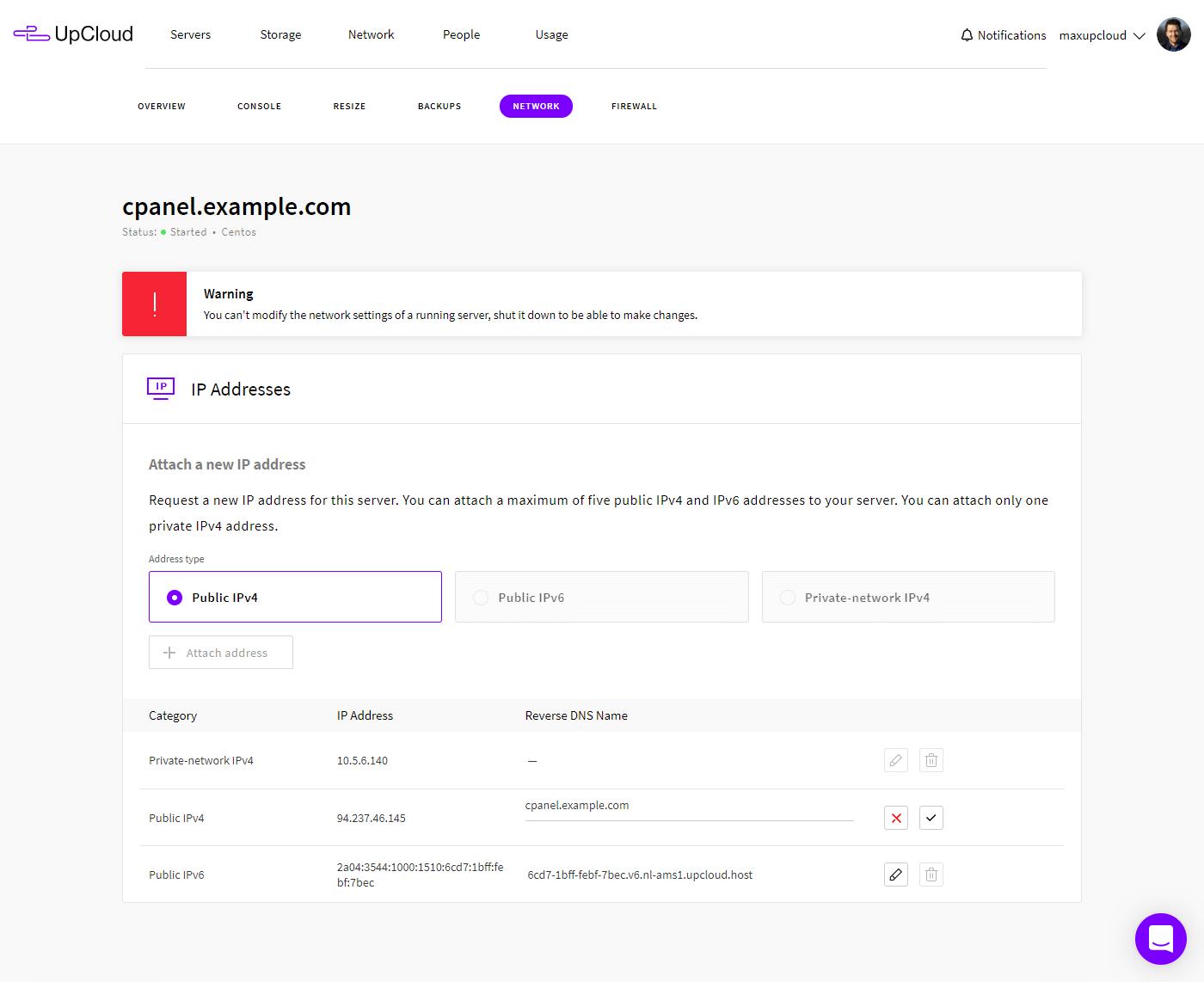 UpCloud set rDNS