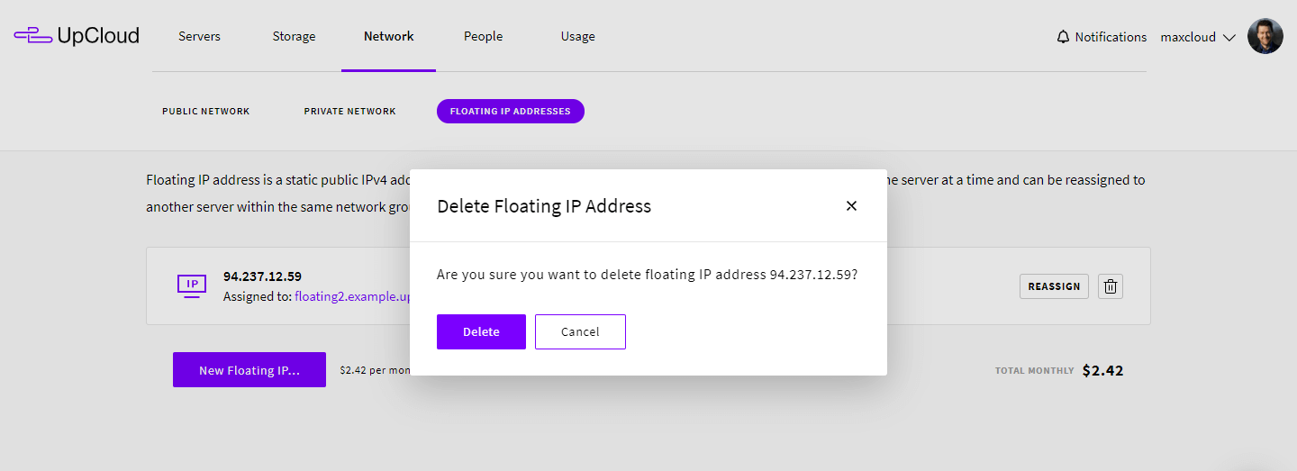 Deleting floating IP