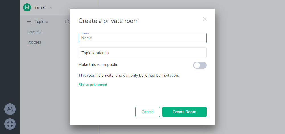 Matrix Riot create private room