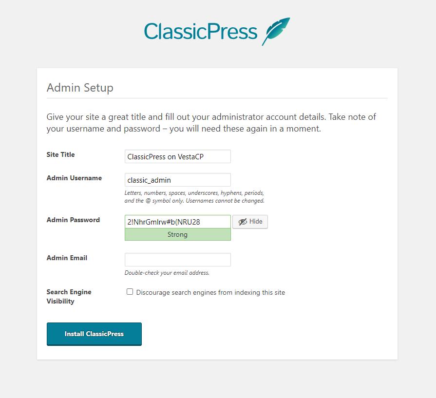 ClassicPress admin setup