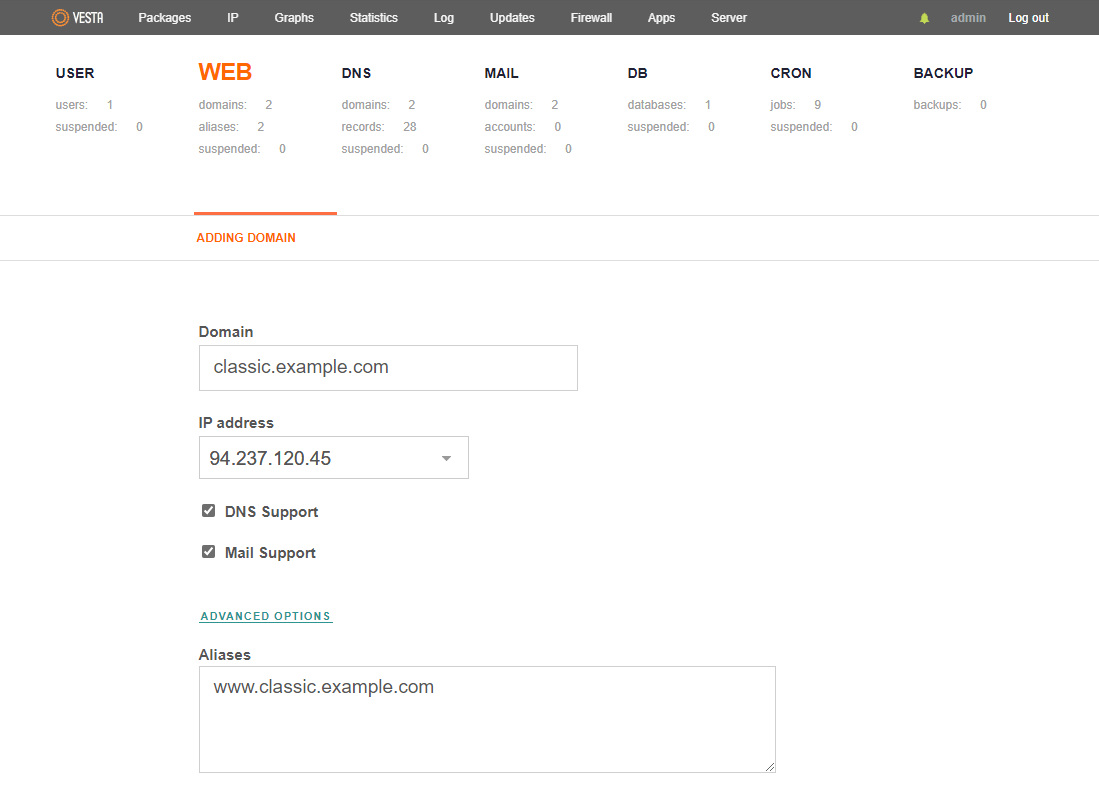 VestaCP configure domain