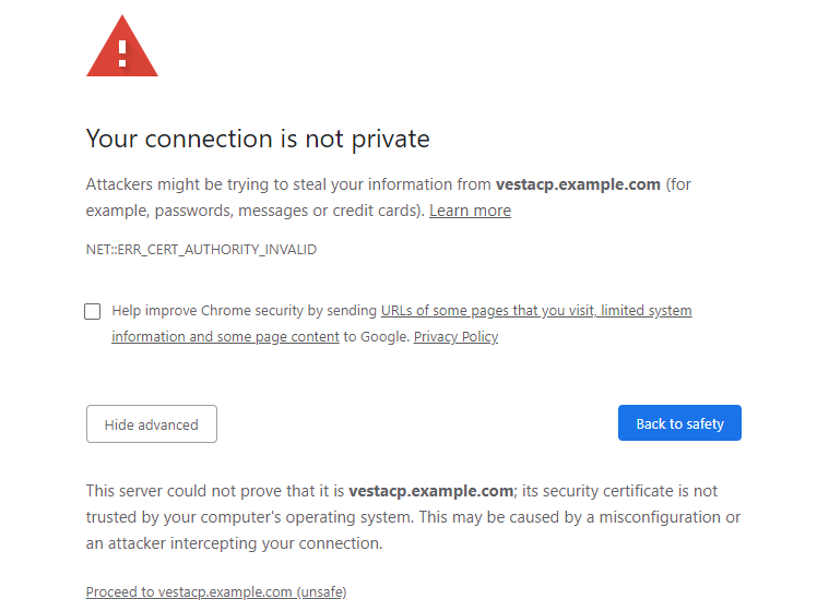 VestaCP not private continue