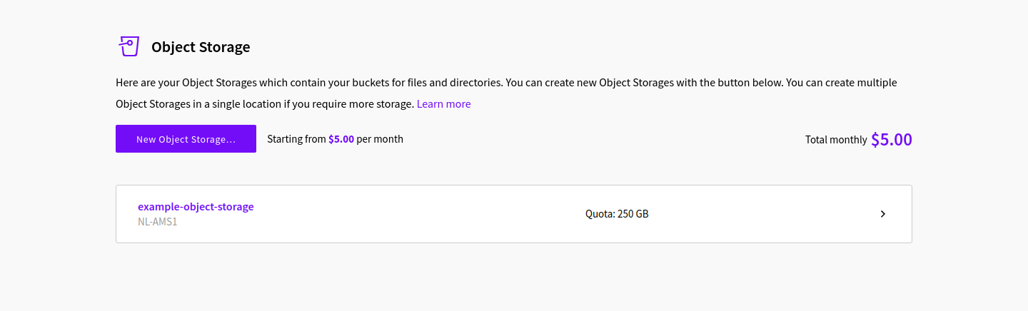 Example Object Storage
