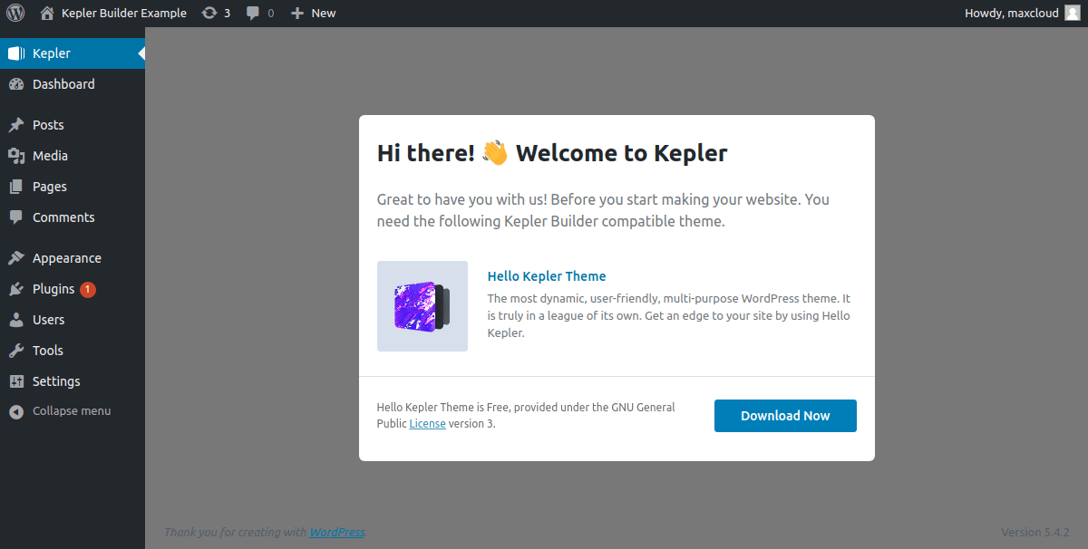 Kepler Builder WP plugin activated