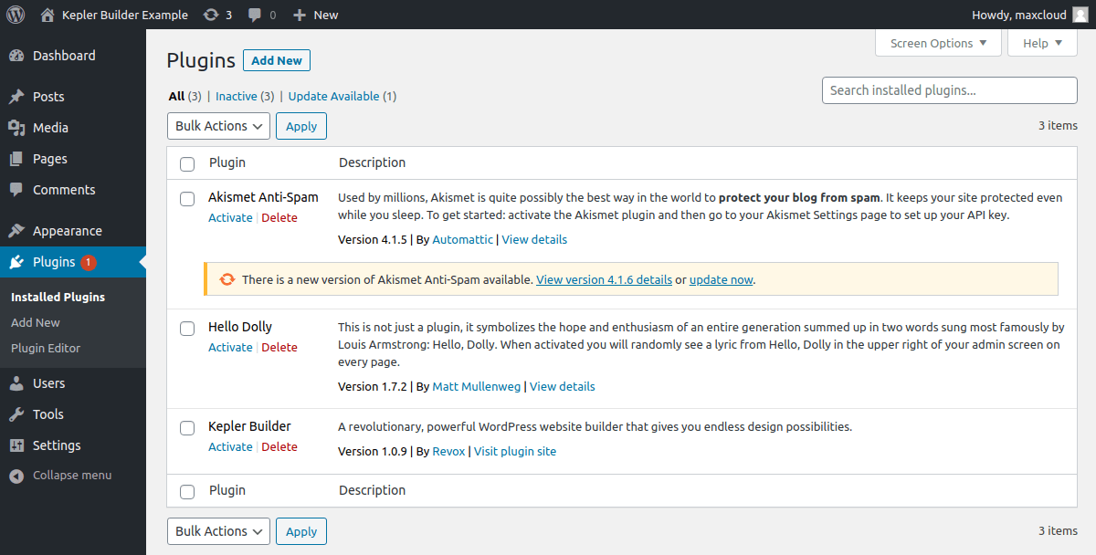 Activating Kepler Builder WP plugin