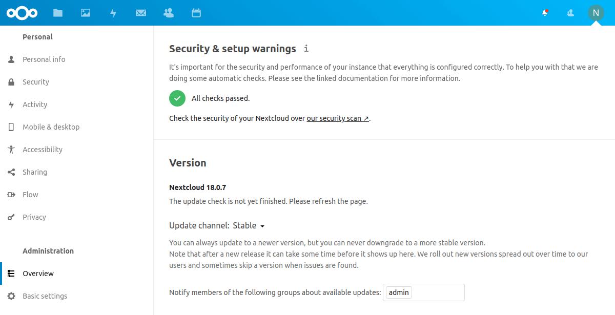 Security check on Nextcloud