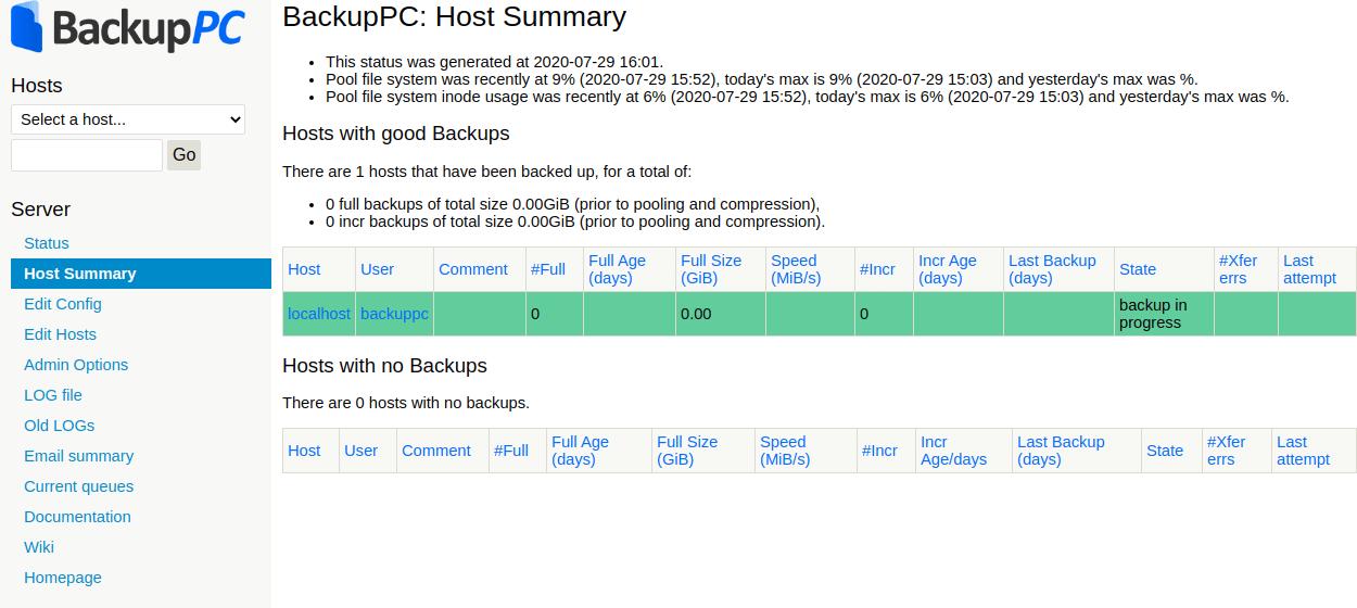 Taking backup with BackupPC