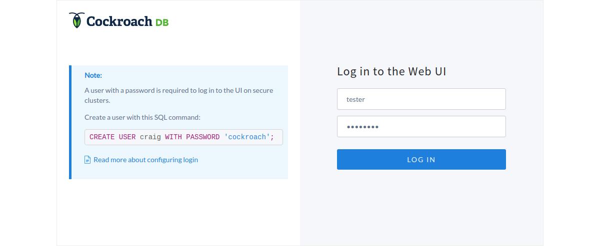 Logging into the CockroachDB web UI
