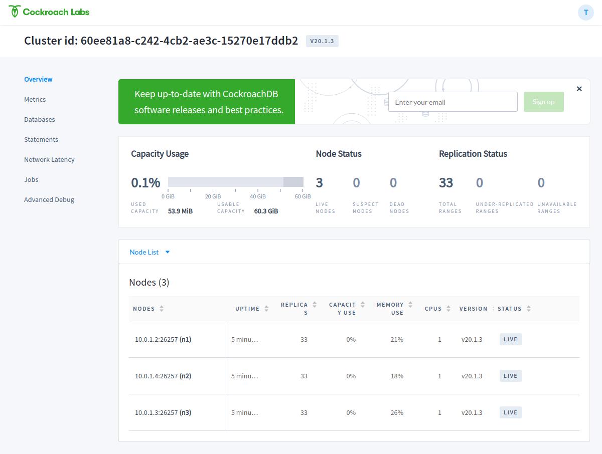 CockroachDB web UI overview