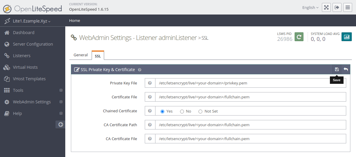 Editing the OpenLiteSpeed admin listener SSL