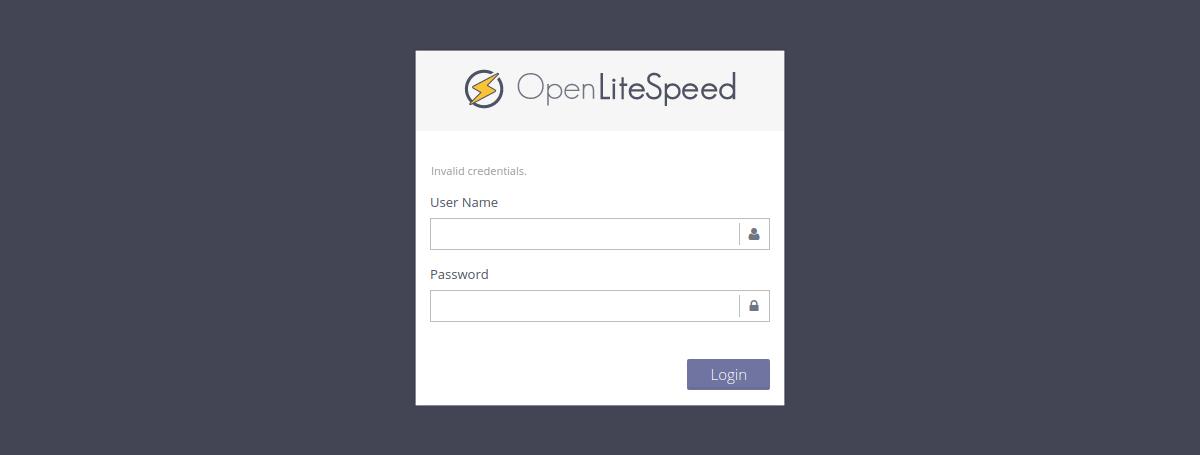 Logging into OpenLiteSpeed dashboard