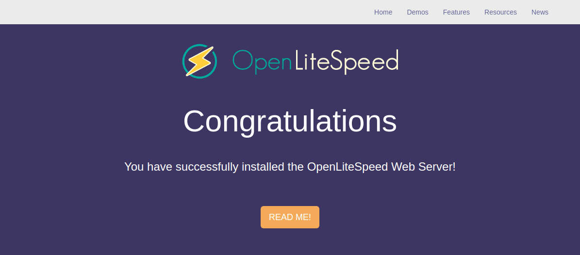 OpenLiteSpeed congratulations