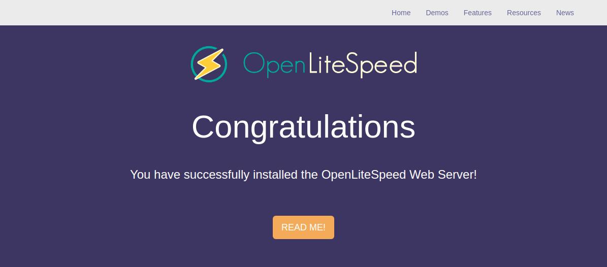 OpenLiteSpeed congratulations