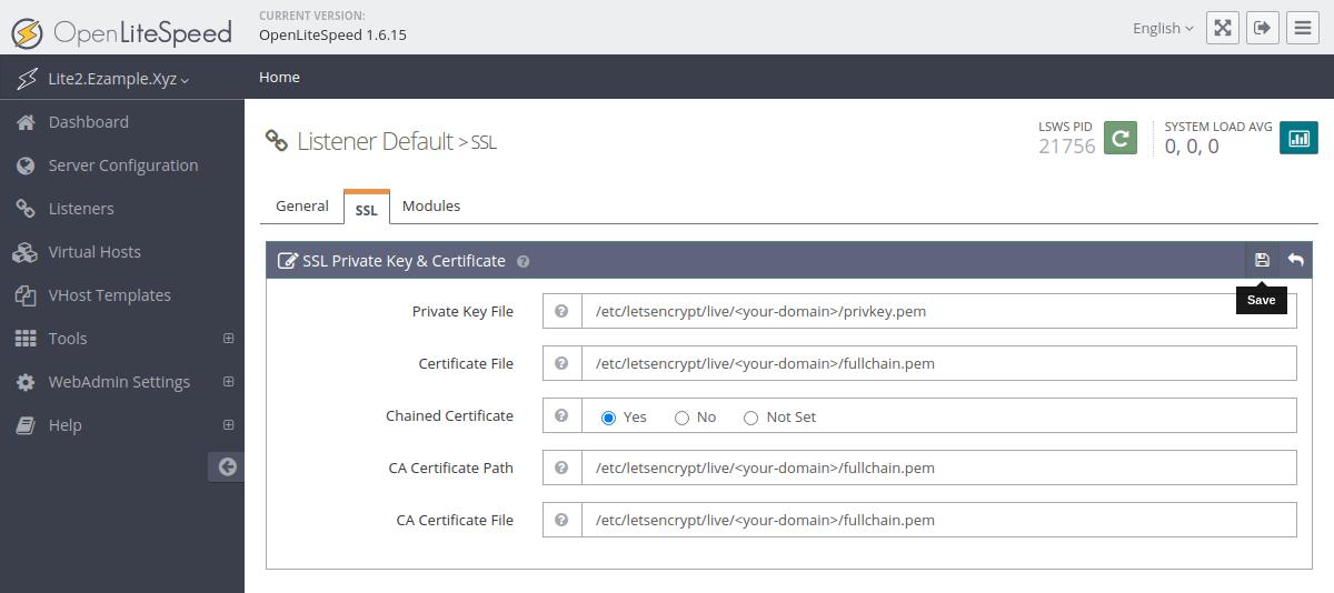 Editing the OpenLiteSpeed default listener SSL settings