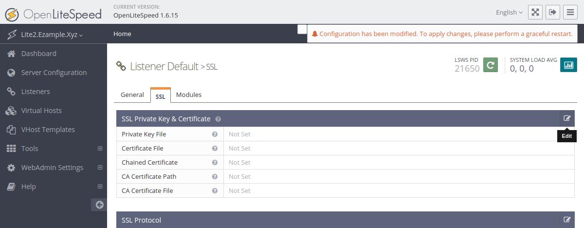 OpenLiteSpeed default listener SSL