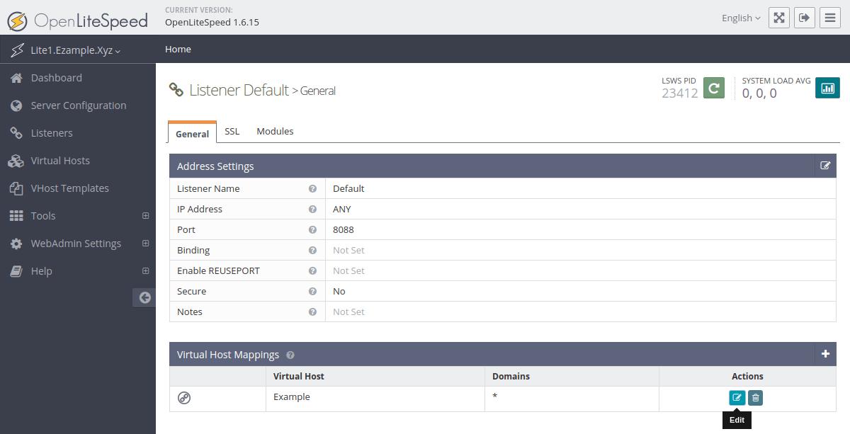 OpenLiteSpeed virtual host mappings