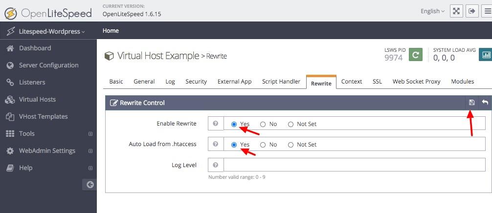 OpenLiteSpeed rewrite controls