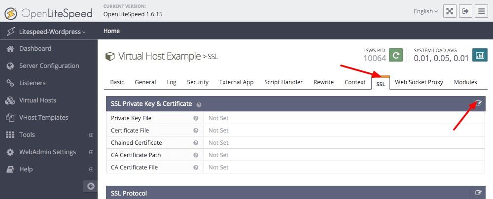 Adding OpenLiteSpeed SSL keys