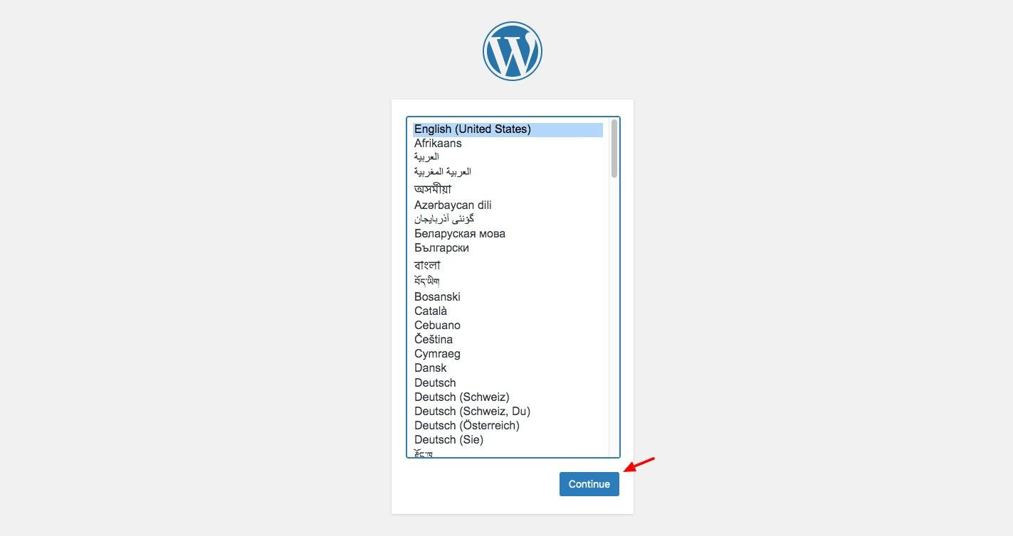 Selecting WordPress language