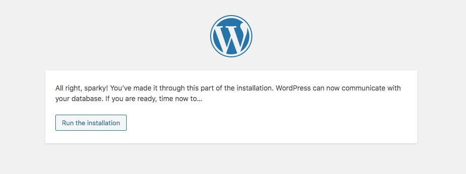 Running WordPress install