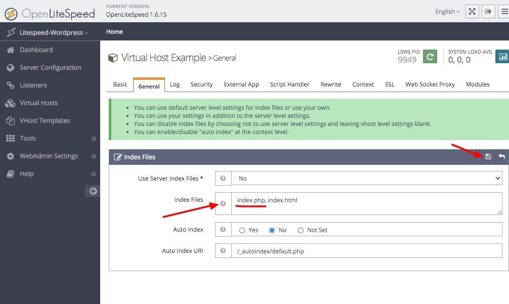 Setting OpenLiteSpeed virtual host index