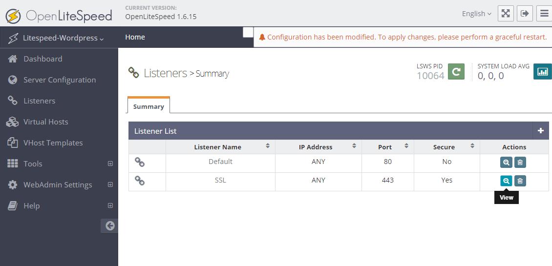 OpenLiteSpeed SSL listener