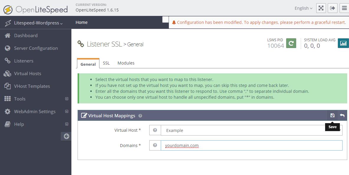 Setting OpenLiteSpeed virtual host domains
