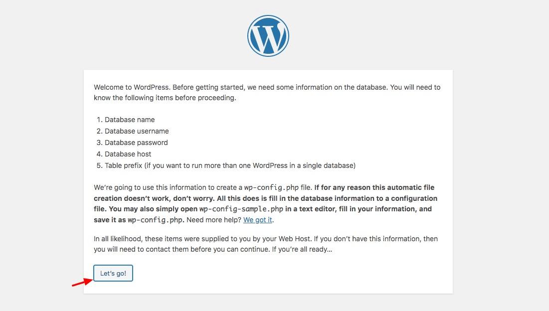 Starting WordPress install