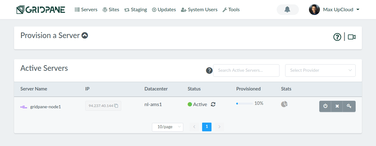 GridPane provisioning cloud server to UpCloud