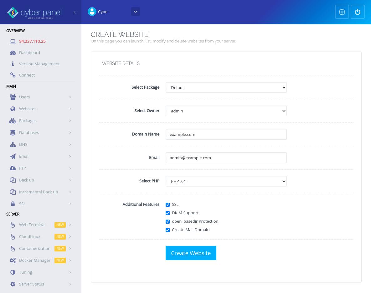 CyberPanel membuat situs web