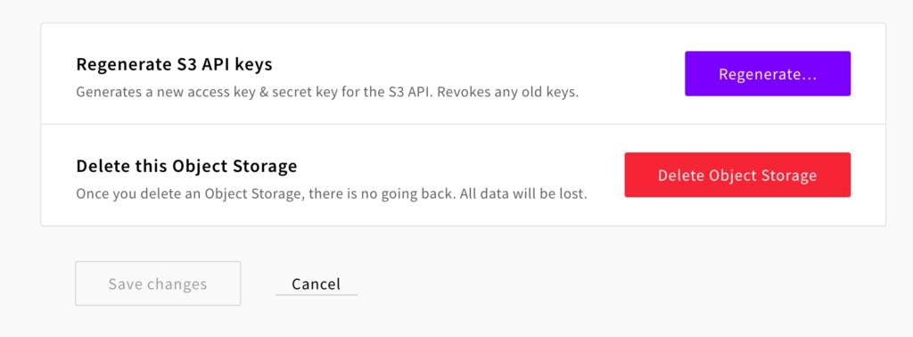 S3 Object Storage access key settings