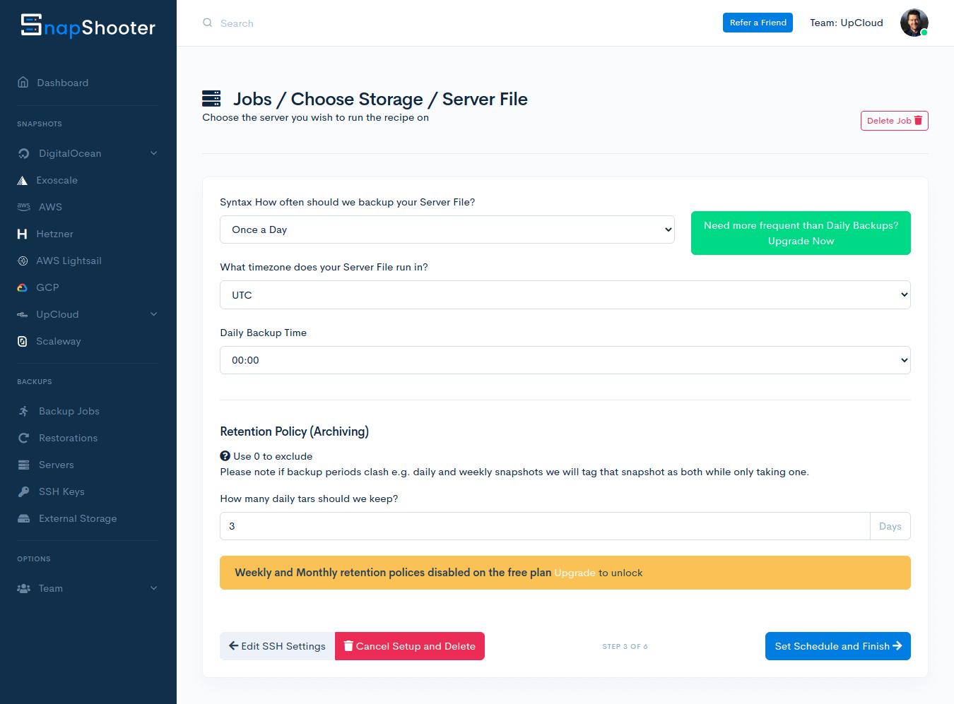 Scheduling server file backup job on SnapShooter