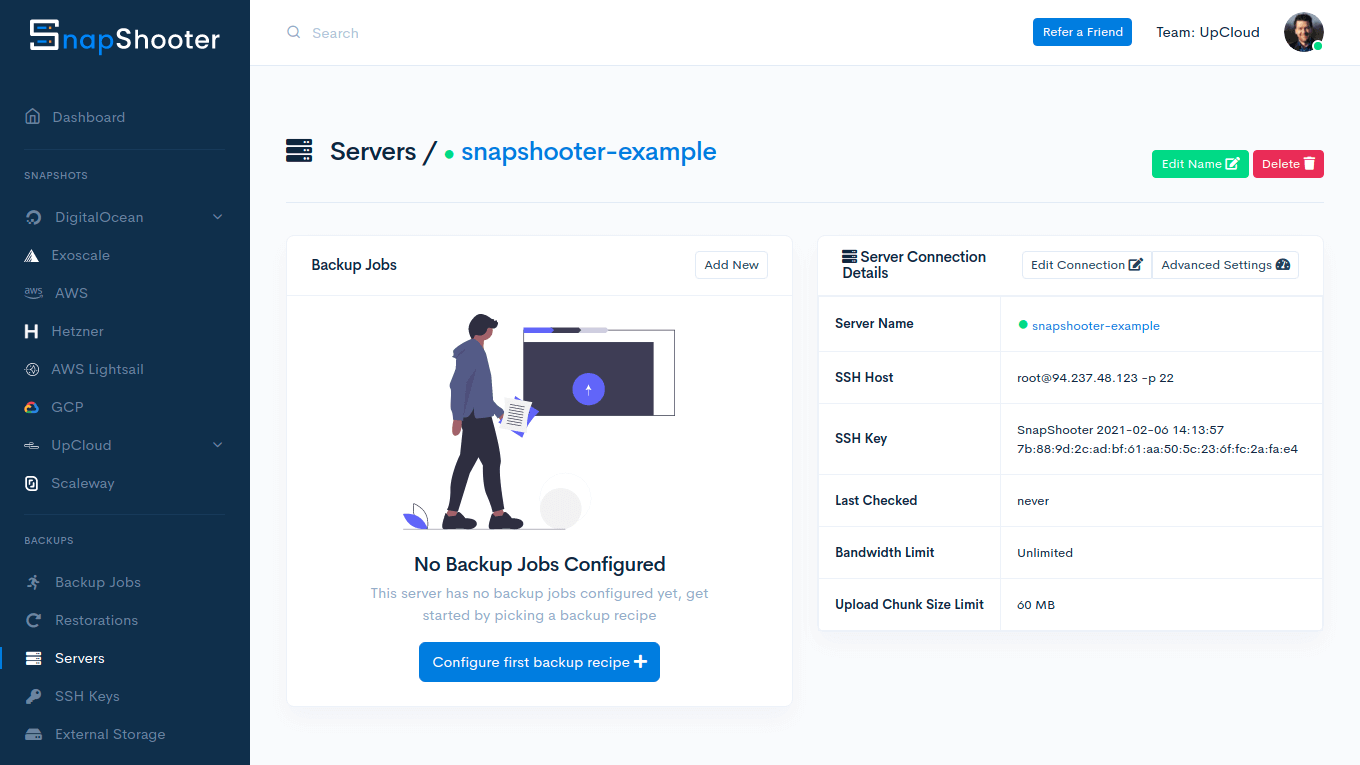 Cloud Server connected on SnapShooter