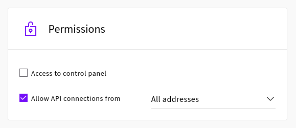 Setting API connection permissions