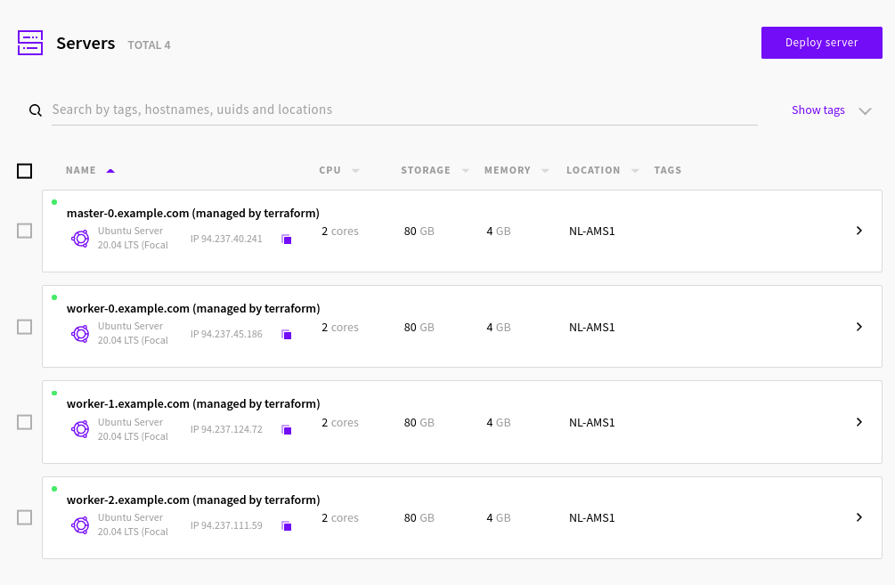 Kubernetes cluster as seen in UpCloud Control Panel