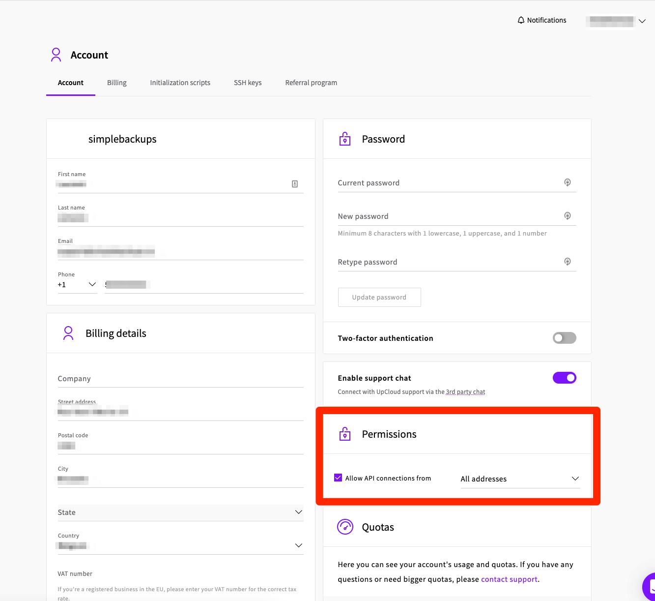 Creating UpCloud API account for SimpleBackups